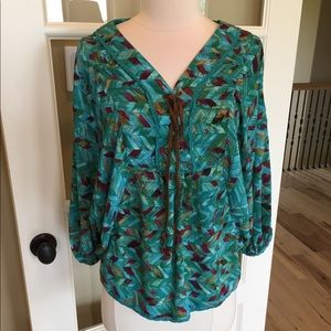 Vintage America lace up top loose pullover fits SM